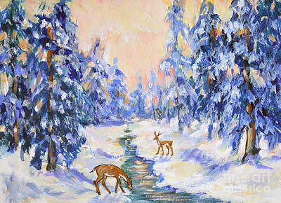 Painting - Fawns In Winter by Li Newton