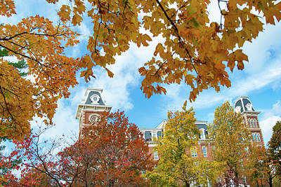 Photograph - Fayetteville Arkansas Old Main Building In Fall by Gregory Ballos