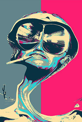Digital Art - Fear And Loathing In Las Vegas Revisited - Psychedelic Raoul Duke by Serge Averbukh