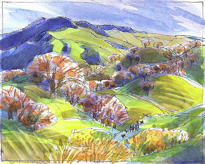 Painting - February Landscape With Mount Diablo by Judith Kunzle