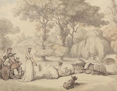Drawing - Feeding The Ducklings by Thomas Rowlandson