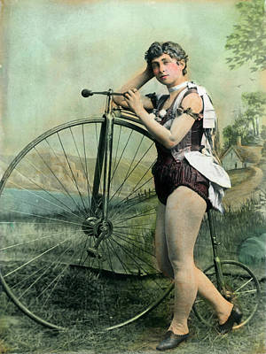 Female Circus Performer With Bicycle Art Print by Bettmann