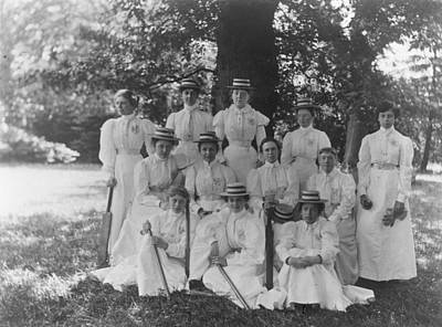 Female Cricket Team Art Print by General Photographic Agency