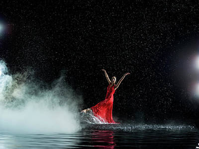 Photograph - Female In Red Dancing, Misty And Rainy by Jonathan Knowles