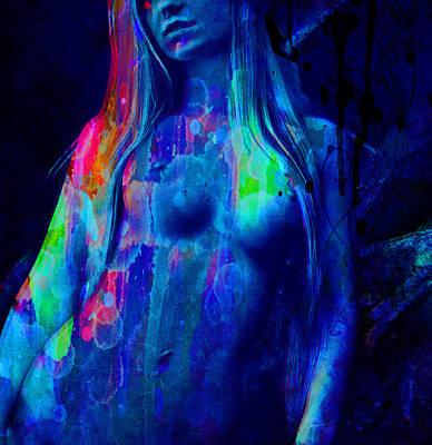 Painting - Female Nude Patina Watercolor Fine Art Original by Robert R Splashy Art Abstract Paintings