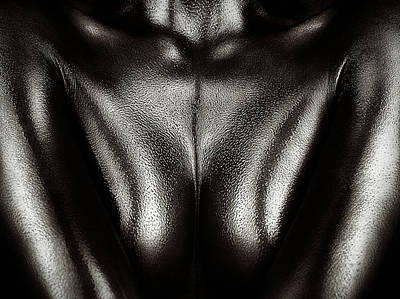 Figurative Photograph - Female Nude Silver Oil Close-up 2 by Johan Swanepoel