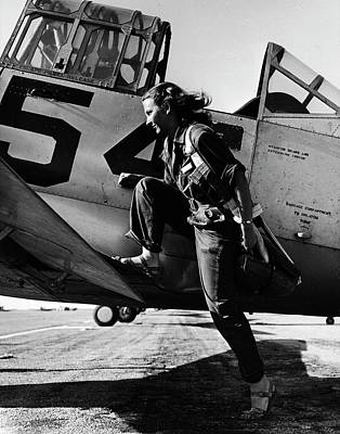 On The Move Photograph - Female Pilot Of The Us Womens Air Force by Peter Stackpole