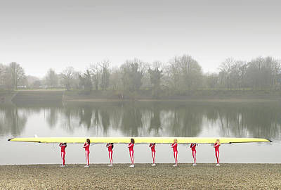 Togetherness Photograph - Female Rowers Carrying Scull, Side View by Adrian Samson