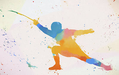 Painting - Fencer Paint Splatter by Dan Sproul