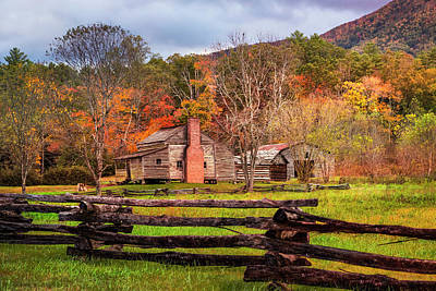 Photograph - Fences And Cabins Cades Cove by Debra and Dave Vanderlaan