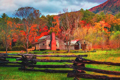 Photograph - Fences And Cabins Cades Cove Watercolors by Debra and Dave Vanderlaan