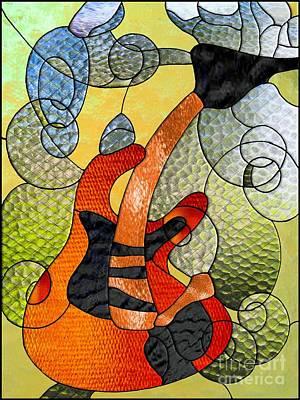 Digital Art - Fender Guitar ..stained Glass Art Work by Elaine Manley