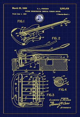 Digital Art - Fender Guitar Vibrato Patent Drawing by Carlos Diaz