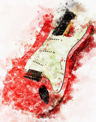 Painting - Fender Stratocaster - 07 by Andrea Mazzocchetti