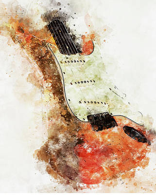 Painting - Fender Stratocaster - 08 by Andrea Mazzocchetti