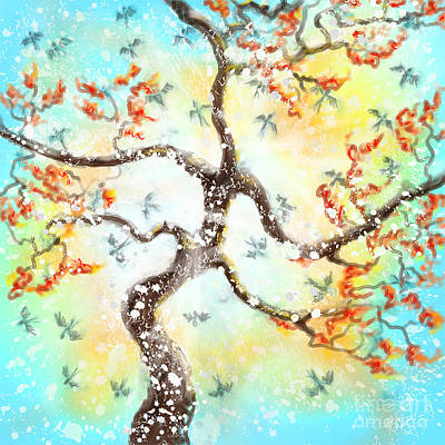 Painting - Feng Shui your Life - 100 Birds by Remy Francis