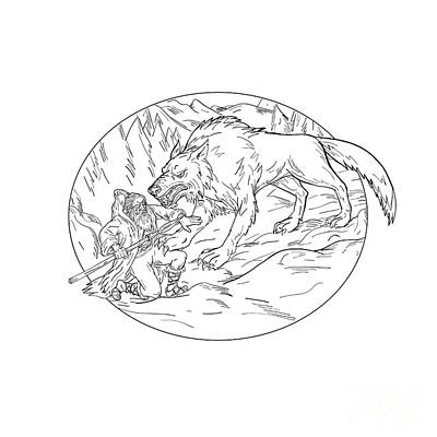 Butterflies Rights Managed Images - Fenrir Attacking Norse God Odin Drawing Black and White Royalty-Free Image by Aloysius Patrimonio