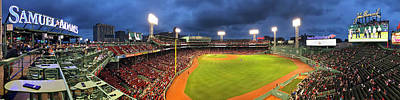 Photograph - Fenway Park At Night Panoramic by Joann Vitali