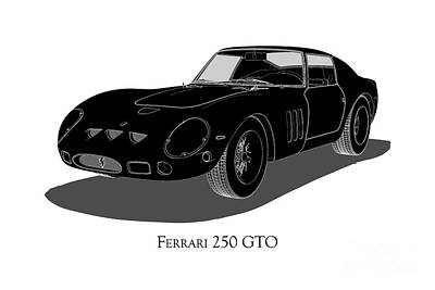 Digital Art - Ferrari 250 Gto - Front View by David Marchal