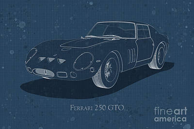Digital Art - Ferrari 250 Gto - Front View - Stained Blueprint by David Marchal