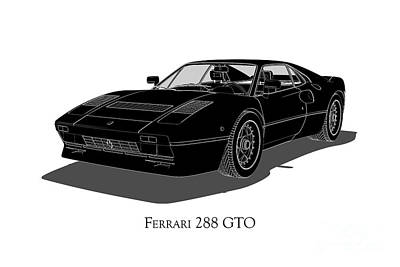 Digital Art - Ferrari 288 Gto - Front View by David Marchal