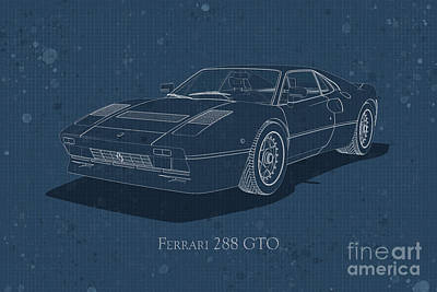 Digital Art - Ferrari 288 Gto - Front View - Stained Blueprint by David Marchal