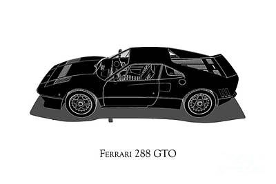 Digital Art - Ferrari 288 Gto - Side View by David Marchal