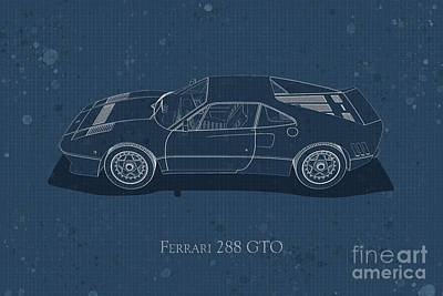 Digital Art - Ferrari 288 Gto - Side View - Stained Blueprint by David Marchal