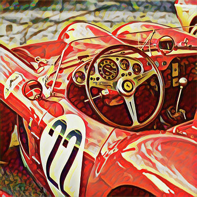 Digital Art - Ferrari Cockpit by Gary Grayson