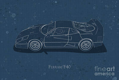 Digital Art - Ferrari F40 - Side View - Stained Blueprint by David Marchal