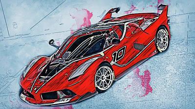 Painting - Ferrari Fxx K - 74 by Andrea Mazzocchetti