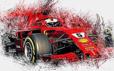 Painting - Ferrari Sf71h, Sebastian Vettel - 19 by Andrea Mazzocchetti