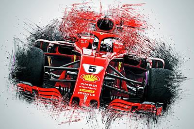 Painting - Ferrari Sf71h, Sebastian Vettel - 20 by Andrea Mazzocchetti