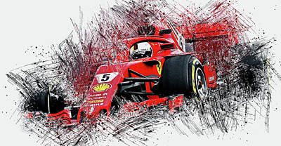 Painting - Ferrari Sf71h, Sebastian Vettel - 21 by Andrea Mazzocchetti