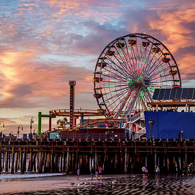 Ferris Wheel On The Pier - Square Art Print