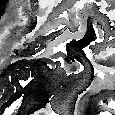 Music Paintings - Fervid - Black and White Abstract by Susan Porter