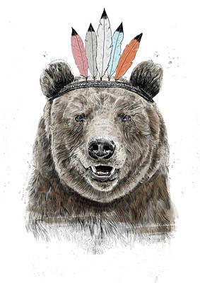 Wildlife Mixed Media - Festival Bear by Balazs Solti