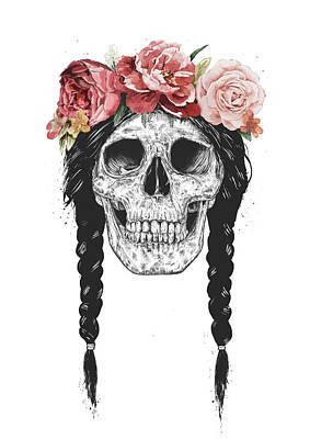 Flower Drawing - Festival Skull by Balazs Solti