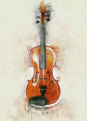 Mixed Media Royalty Free Images - Fiddle Watercolour Royalty-Free Image by David Ridley