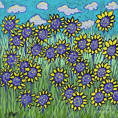 Digital Art - Field Of Sunflowers by Caroline Street