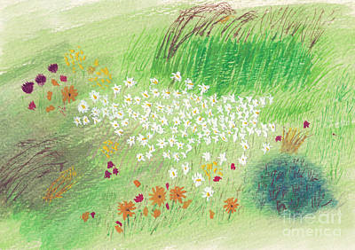 Painting - Field Of Wildflowers Watercolor by Conni Schaftenaar