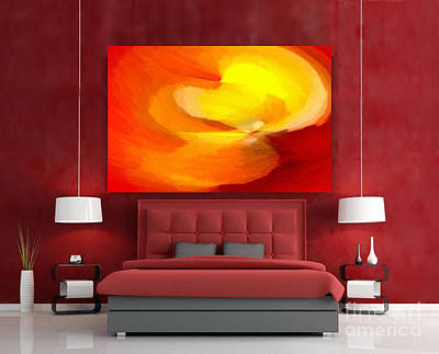 Digital Art - Fiery Flame Abstract Painting Interior Decor By Delynn Addams by Delynn Addams