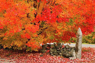 Photograph - Fiery Stone Wall by Jeff Folger