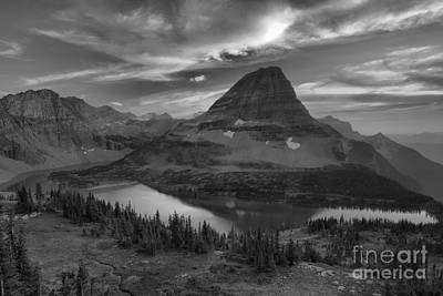 Photograph - Fiery Summer Skies Over Hidden Lake Black And White by Adam Jewell