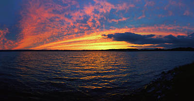 Photograph - Fiery Sunset At Owasco Lake In New York's Finger Lakes by Lynn Bauer