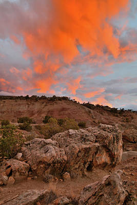 Photograph - Fiery Sunset Clouds Over Blm Bentonite Site by Ray Mathis