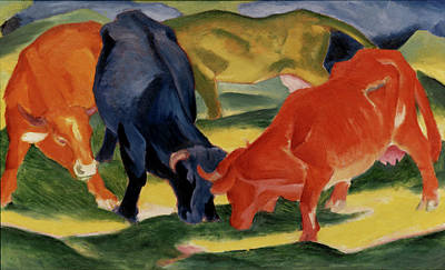 Painting - Fighting Cows By Franz Marc by Superstock
