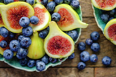 Figs And Blueberries Art Print