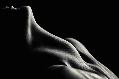 Black And White Horse Photography - Figurative Body Parts 3 by Johan Swanepoel
