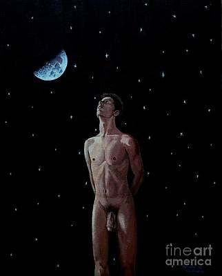Painting - Figure Enjoying The Night by Christopher Shellhammer